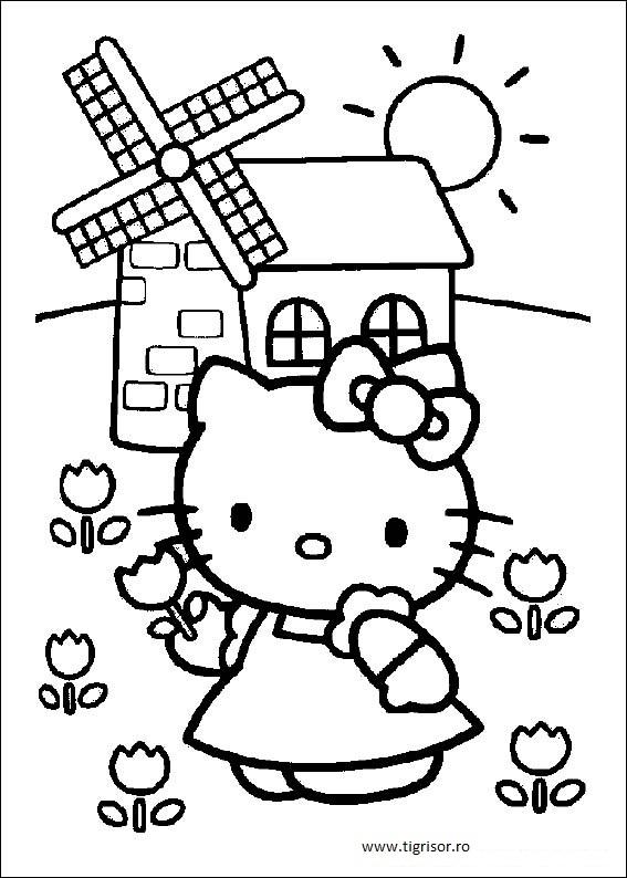 Plansa De Colorat Cu Hello Kitty Langa Moara Tigrisorro