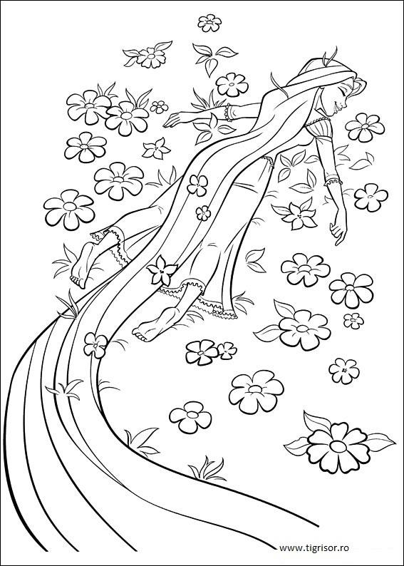 Plansa De Colorat Cu Rapunzel Intre Flori Tigrisorro