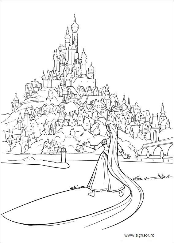 Plansa De Colorat Cu Rapunzel In Fata Castelului Tigrisorro