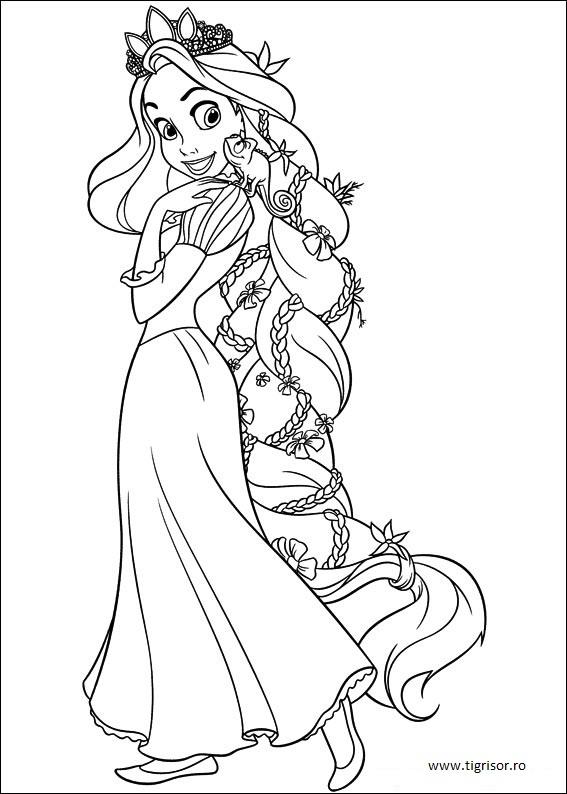 Plansa De Colorat Cu Rapunzel Cu Parul Impletit Tigrisorro