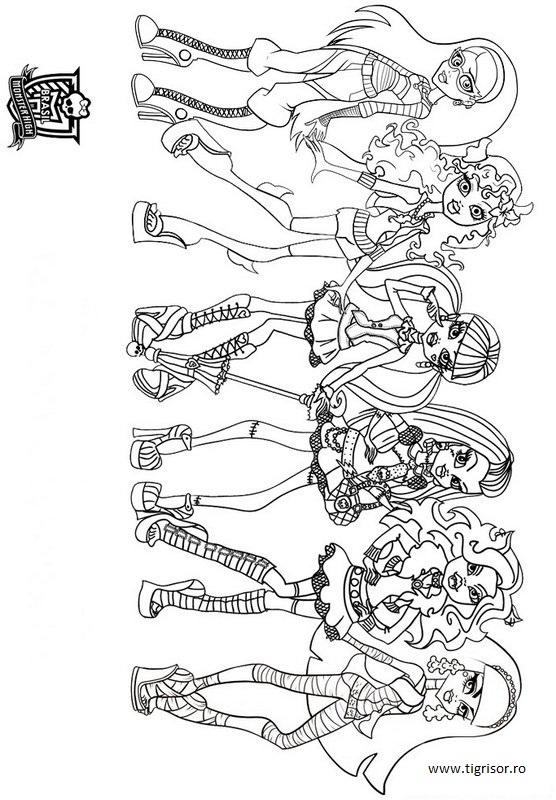Plansa De Colorat Cu Personajele Principale Din Monster High